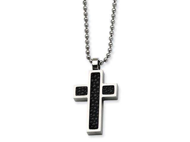 Stainless Steel Black Stingray Cross Pendant 24in Necklace