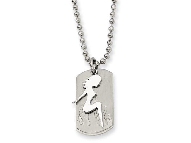 Stainless Stell Girl Dog Tag Pendant Necklace