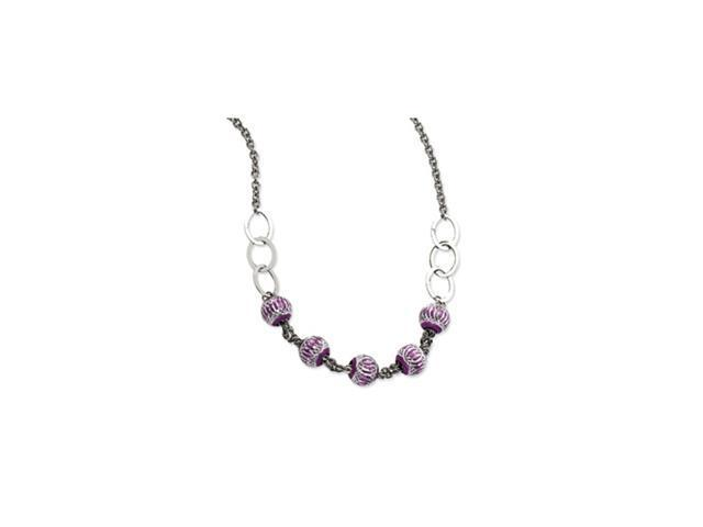 Stainless Steel Purple Diamond Cut Beads 20in Necklace