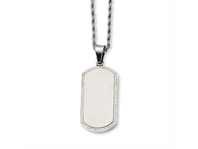 Stainless Steel Laser Cut Dog Tag Pendant 22in Necklace