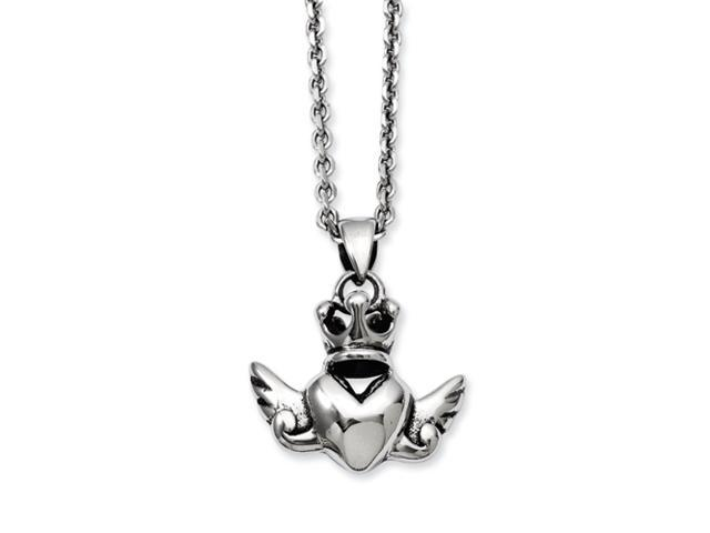 Stainless Steel Heart with Crown & Wings 20in w/ext Necklace