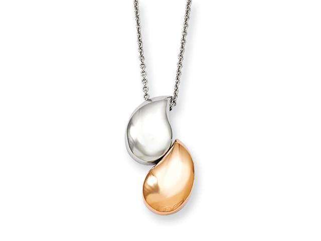 Stainless Steel Rose Gold-plated & Polished Teardrop 18in Necklace