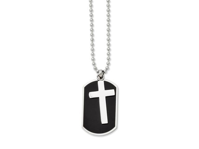 Stainless Steel Black-plated Dog Tag & Polished Cross Pendant 24in Necklace