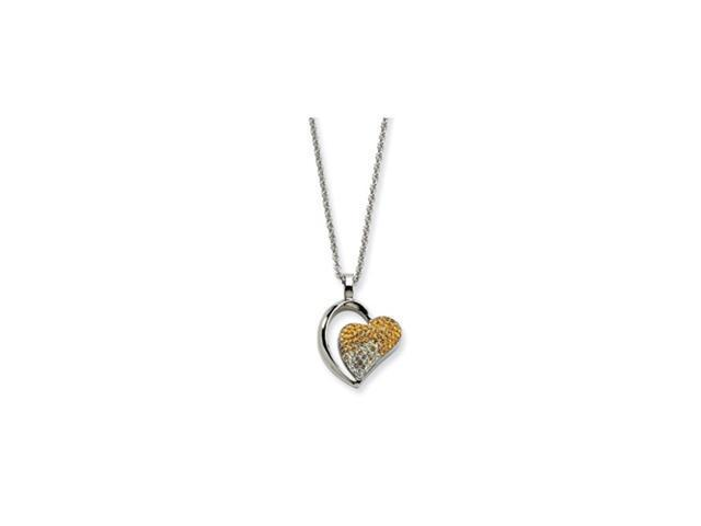 Stainless Steel Yellow & Clear Crystals Heart Pendant 22in Necklace
