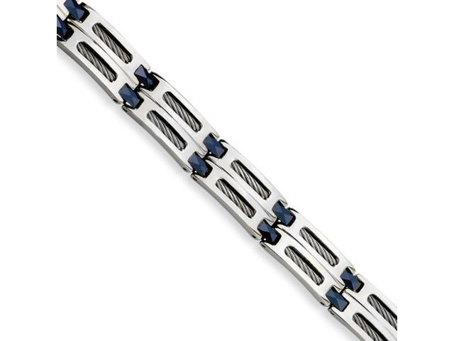 Stainless Steel and Blue Ceramic Fancy Link Bracelet