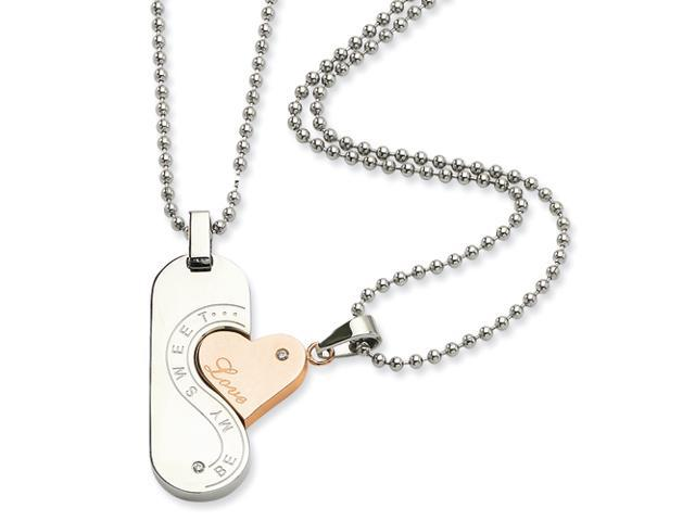 Stainless Steel Polished & Rose Gold Plated Pendant Set 22in Necklace