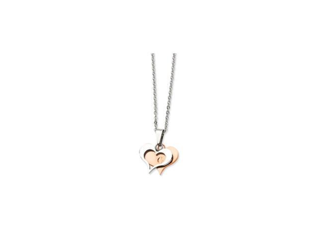 Stainless Steel Polished & Rose Gold Heart Pendant 22in Necklace