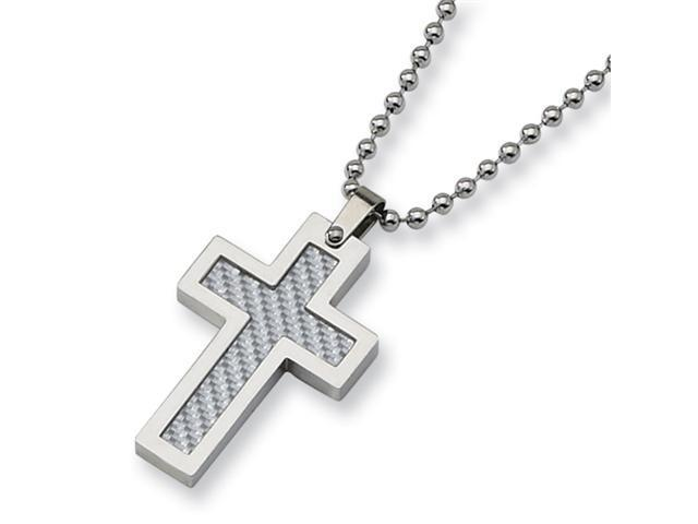 Stainless Steel Grey Carbon Fiber Cross Necklace