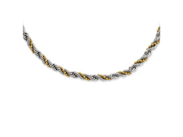 Stainless Steel Gold IP plated Ball & Rope Twisted 18in Necklace