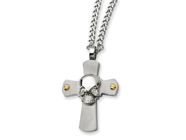 Stainless Steel Skull on Cross Necklace