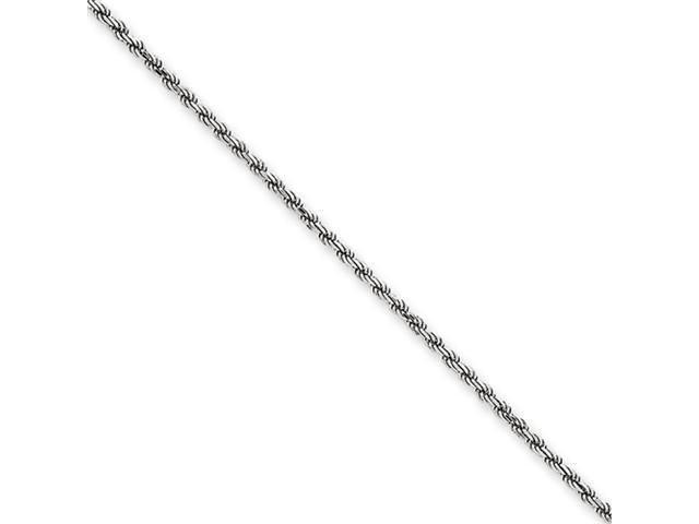14k White Gold 1.40mm Solid D/C Machine-Made Rope Chain