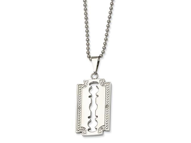 Stainless Steel and 1/20ct. Diamond Razor Blade Necklace