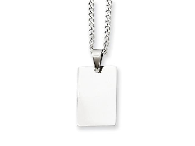 Stainless Steel Rectangle Dog Tag Pendant 24in Necklace