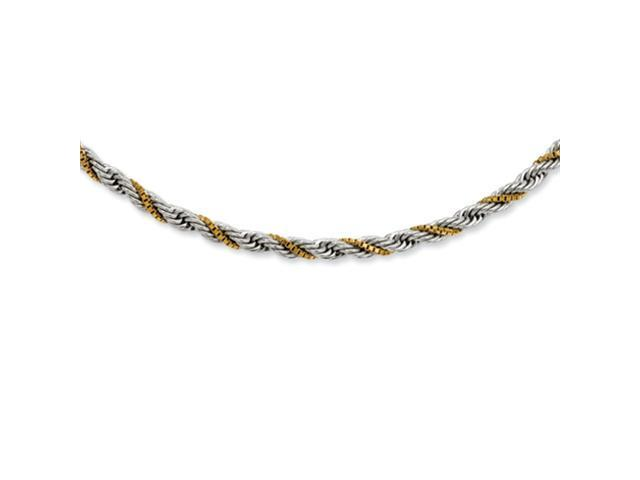 Stainless Steel Gold-plated Box & Rope Twisted 20in Necklace