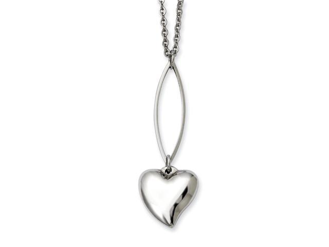 Stainless Steel Polished Heart Y 18in Necklace