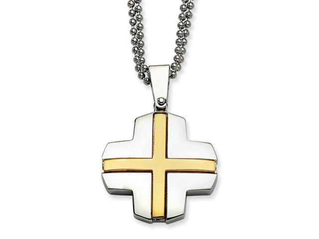 Stainless Steel IPG 24k Plating Cross 22in Necklace