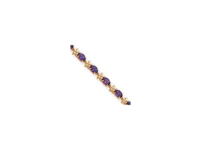 14k Completed Fancy Floral Diamond/Amethyst Bracelet Diamond quality BB (I3 clarity, I-J color)
