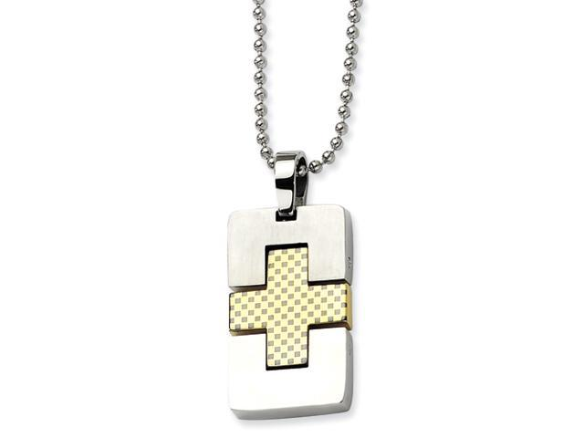 Stainless Steel Satin & Gold-plated Rectangular Cross Pendant 22in Necklace