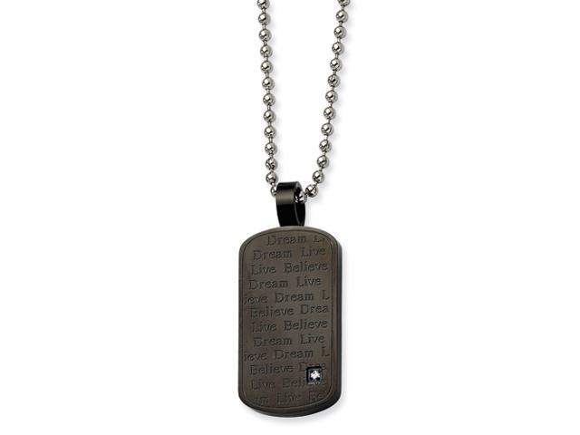 Stainless Steel Black PVD w/ CZ Pendant  24 in. Necklace