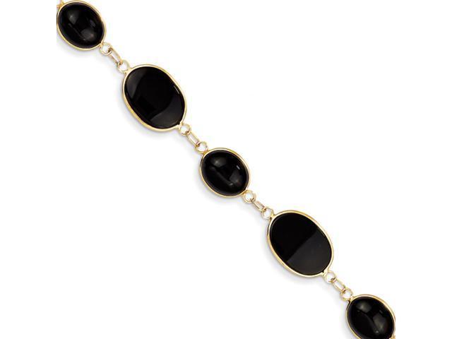 14k 8in Polished Genuine Fancy Onyx Bracelet