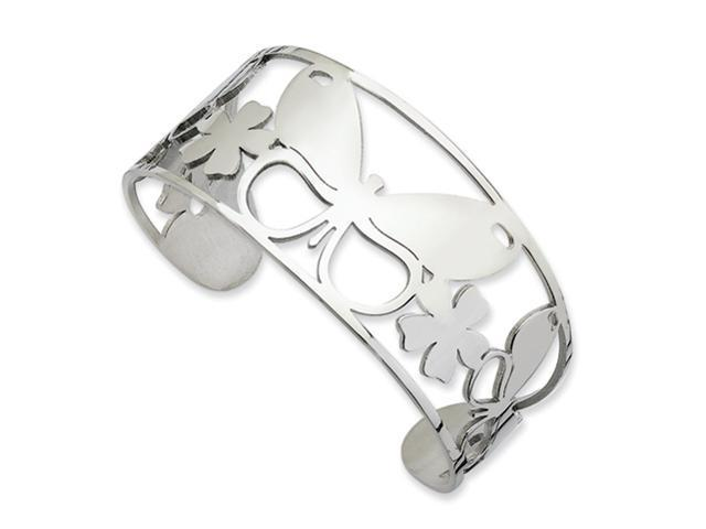 Stainless Steel Polished Butterfly Cuff Bangle