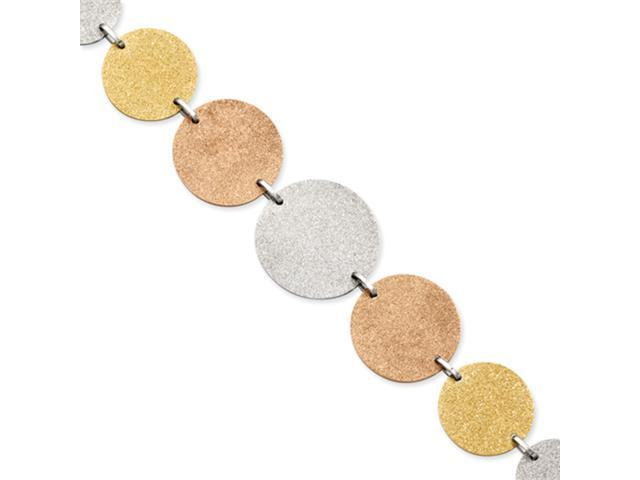 Stainless Steel Tri-Color Plated Discs 8in w/ext Bracelet