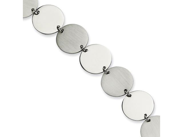 Stainless Steel Polished & Brushed Circles 7.5in Bracelet