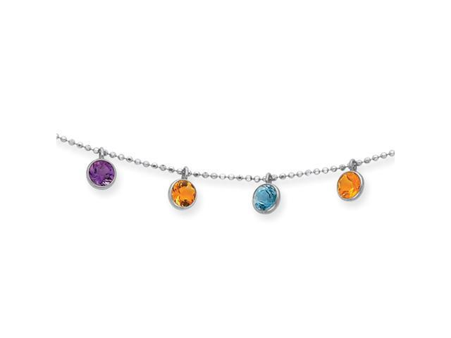 14K White Gold Multi-color Gemstone Necklace