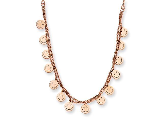 Stainless Steel Rose Gold-plated Happy Faces 19in w/ext Necklace
