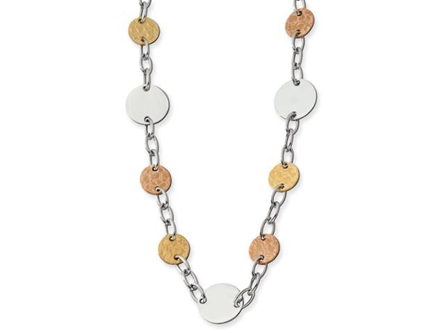 Stainless Steel Gold and Rose IP Plated Circle Necklace