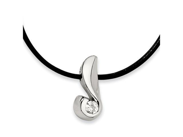 Stainless Steel CZ Pendant Necklace