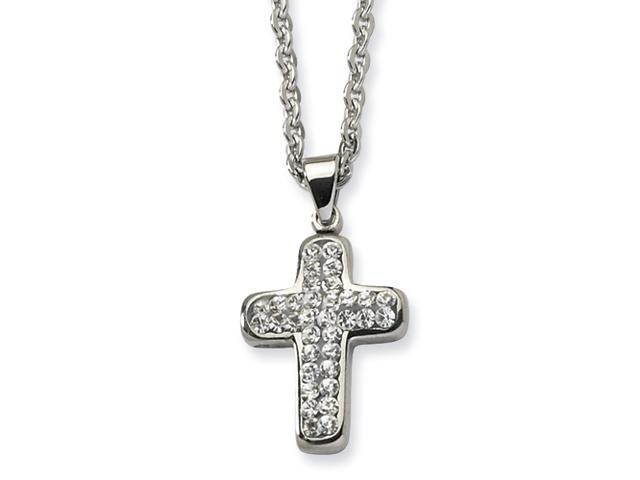 Stainless Steel Crystal Cross Pendant 22in Necklace