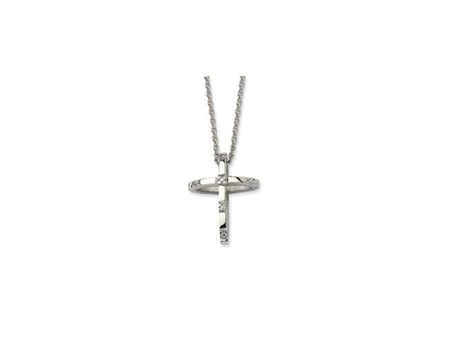 Stainless Steel CZ Cross Pendant 22in Necklace