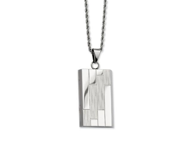 Stainless Steel Textured Pattern Dog Tag Pendant 24in Necklace