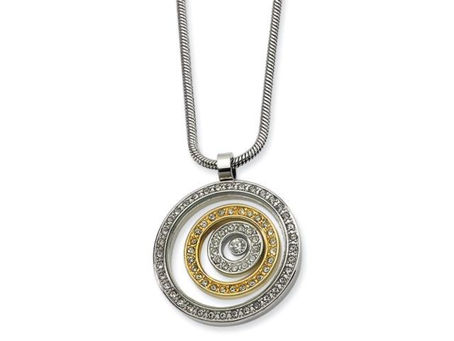 Stainless Steel and IP-plated CZ Circle Pendant Necklace