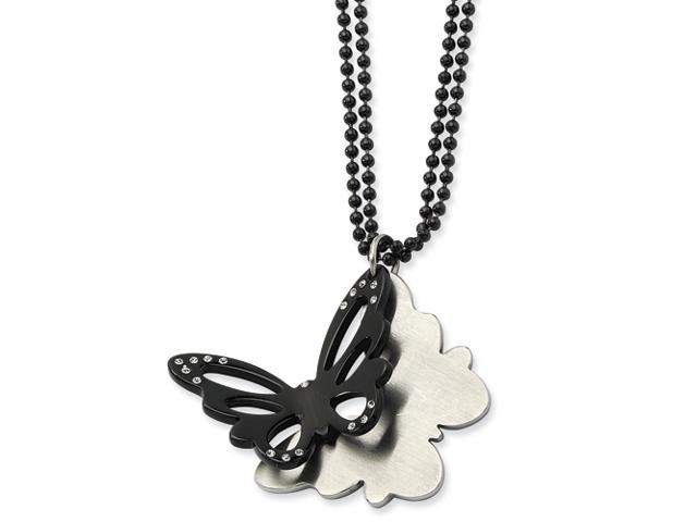 Stainless Steel Black IP Plated Butterfly w/CZs 24in Double Chain Necklace