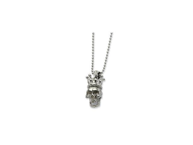 Stainless Steel Skull with Crown Pendant 22in Necklace