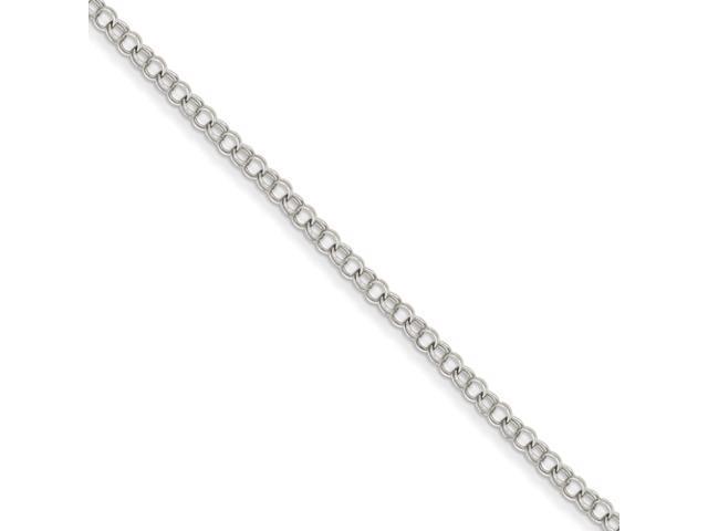 14k White Gold 3.5mm Solid Double Link Charm Bracelet