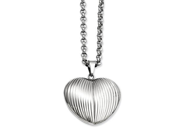 Stainless Steel Puffed Heart Pendant 24in Necklace