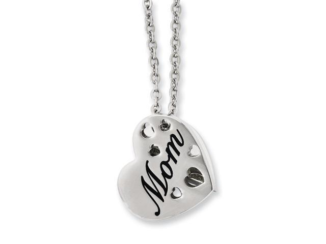 Stainless Steel Mom Heart Slide Pendant 20in Necklace