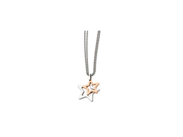 Stainless Steel IPG 24k Plating Plated Stars Pendant 22in Necklace