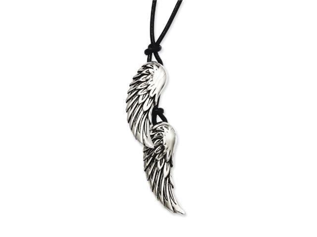 Stainless Steel Antiqued Wings on Black Leather Cord Necklace