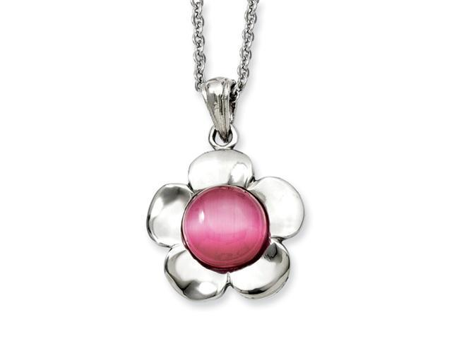 Stainless Steel Flower with Pink Cat's Eye Pendant 18in Necklace