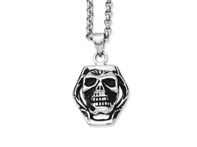 Stainless Steel Antiqued Skull Pendant 24in Necklace