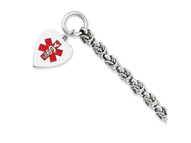 Sterling Silver Engraveable Enameled Heart Medical ID Bracelet