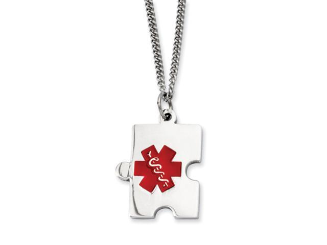 Stainless Steel Puzzle Piece Medical Pendant 20in Necklace