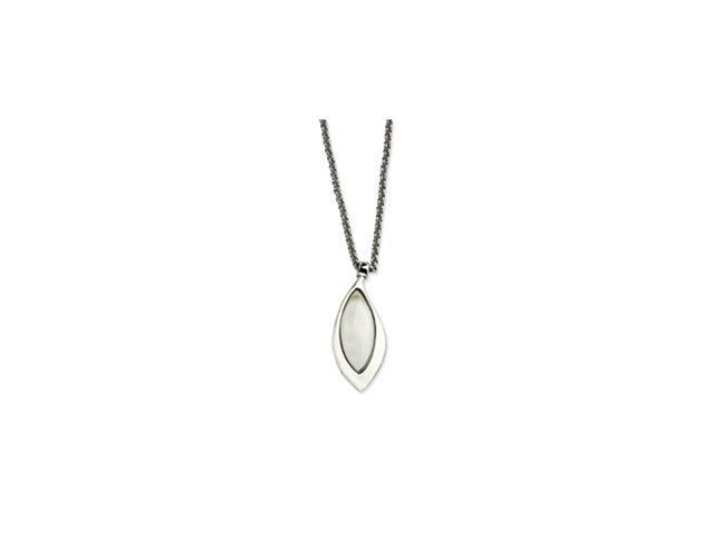 Stainless Steel Polished Teardrop w/ Mother of Pearl 18in Necklace
