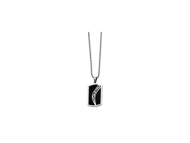 Stainless Steel Black Enamel Dog Tag Pendant 24in Necklace