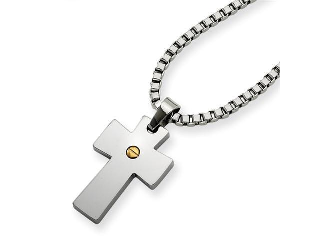 Stainless Steel and IP-plated Cross Pendant Necklace