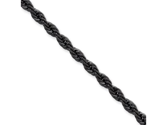 Stainless Steel IP Black-plated 4.0mm 24in Rope Chain